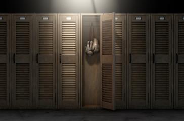 Boxing Gloves In Vintage Locker