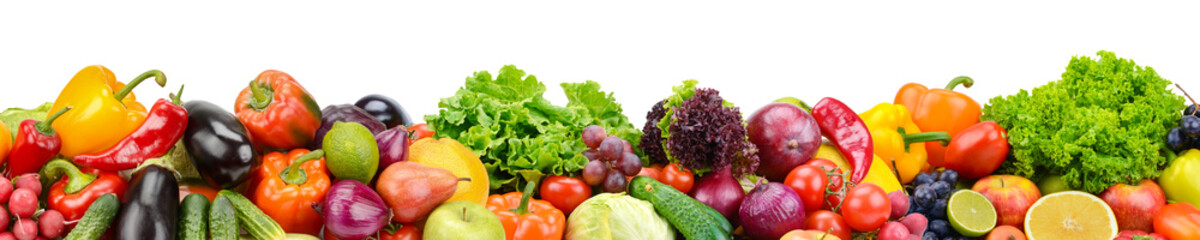 Panoramic collection fresh fruits and vegetables for skinali isolated on white background. © Serghei Velusceac
