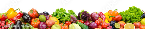 Panoramic collection fresh fruits and vegetables for skinali isolated on white background.