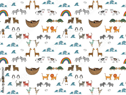 Vector seamless pattern with Noah's Ark concept, Bible story for kids, cartoon vector ornament - 193102967