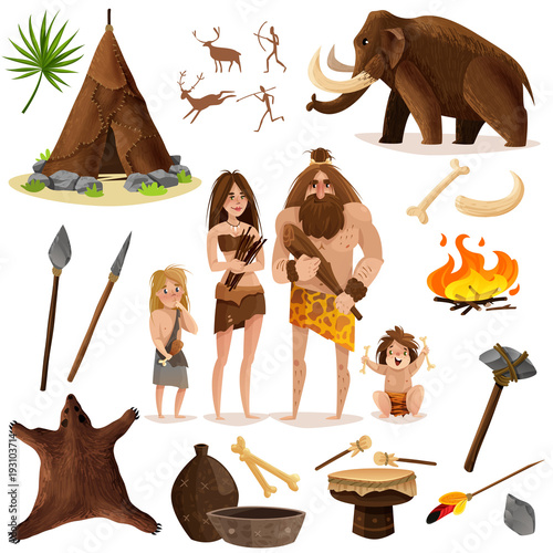 Cavemen Decorative Icons Set