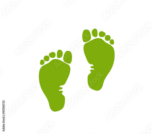 A badge of the footprint (trace) of the child (baby, newborn). Vector illustration.