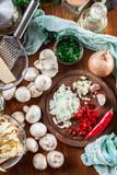 Ingredients ready for prepare tagliatelle pasta with champignon - 193108157