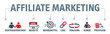 Banner Affiliate Marketing Vektor Illustration mit icons