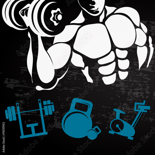 Sticker Athlete with a dumbbell for training