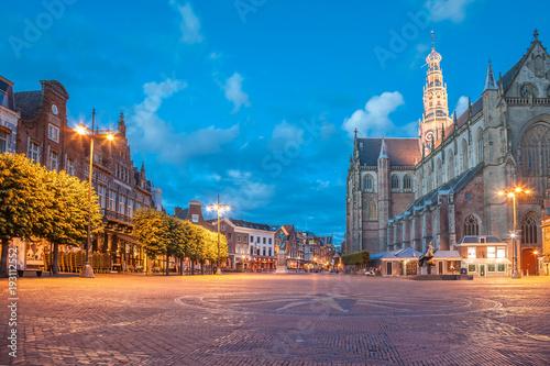 Main square on evening, Haarlem city