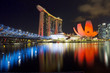 Quadro Вечерний Сингапур. Мост Хеликс Бридж.