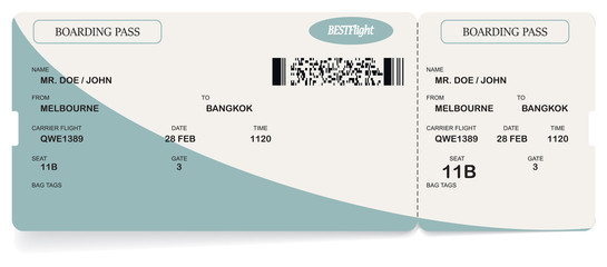 Vector blue modern airline boarding pass ticket. Isolated over white background. Concept of journey