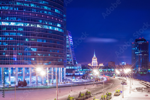 Tuinposter Moskou Night view of the Moscow International Business Center, also referred to as Moscow City is a commercial district in central Moscow, Russia