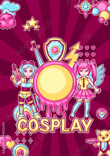 Japanese anime cosplay background. Cute kawaii characters and items - 193120125