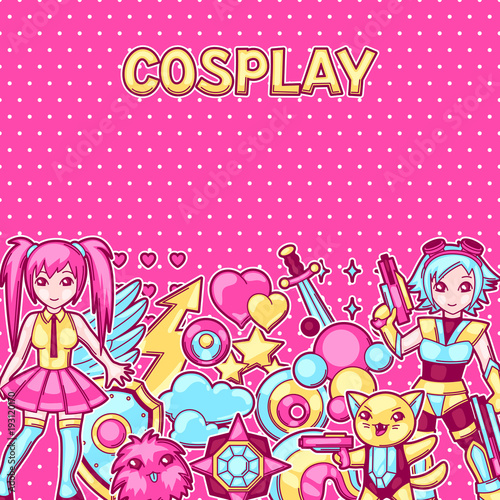 Japanese anime cosplay background. Cute kawaii characters and items - 193120170