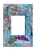 Cadre Bois Rectangulaire Bleu Peint Vintage Vieilli  Wall Sticker