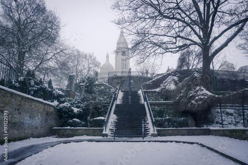 Poster Parijs Snow in Montmartre