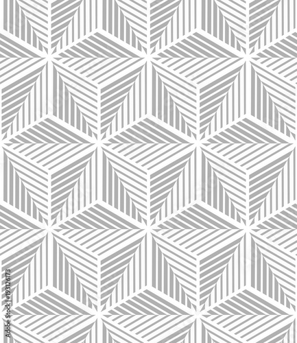 Abstract geometric pattern with stripes, lines. A seamless vector background. White and grey ornament. - 193126173