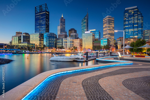 Perth. Cityscape image of Perth downtown skyline, Australia during sunset. - 193129302