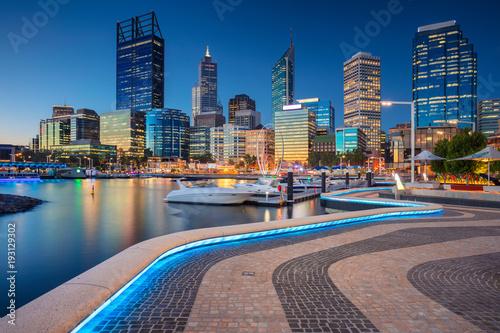 Leinwanddruck Bild Perth. Cityscape image of Perth downtown skyline, Australia during sunset.