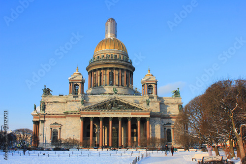 St. Isaac's Cathedral Orthodox Basilica and Museum Building in Saint-Petersburg, Russia. Classical Empire Architecture Built in 1858 by Architect Montferrand. Famous City Cultural Landmark Winter View