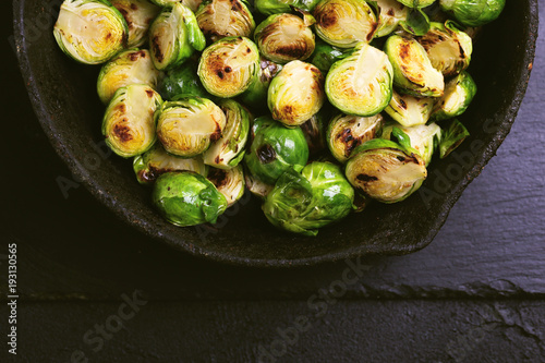 Canvas Brussel Vegetarian cuisine. Brussels Sprouts roasted with olive oil. Copyspace