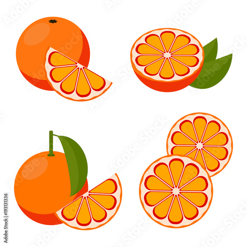 Vector red bloody orange. set of icons.