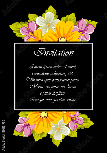Frame of flowers for design postcards, cards, invitations, greeting cards for birthday, Valentine's day, wedding, party, holiday. - 193131930