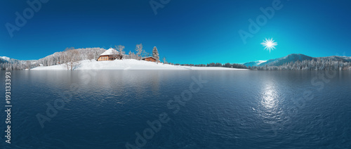Foto op Aluminium Bergen See im verschneiten Schwarzwald 360° Panorama