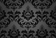 Floral pattern. Wallpaper baroque, damask. Seamless vector background. Black ornament - 193133971