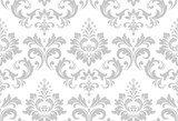 Wallpaper In The Style Of Baroque A Seamless    And Grey Floral Ornament Graphic  Pattern Wall Sticker