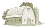 Woodcut Round Roof Barn - 193134394
