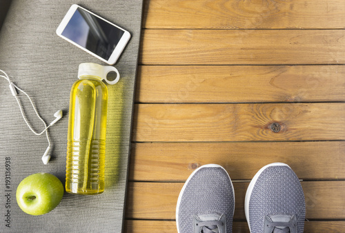 Sticker Fitness concept on wooden background