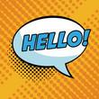 Hello pop art colorful vector illustration graphic design speech bubble
