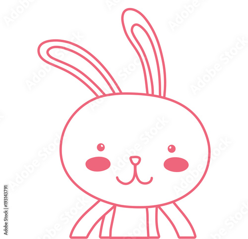 neon line happy rabbit animal with facial expression