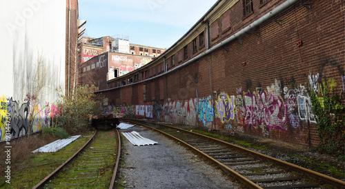 Fotobehang Oude verlaten gebouwen gelände einer alte fabrik in düsseldorf