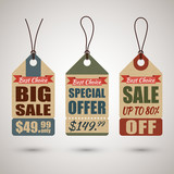 Collection of vintage cardboard price tags or sale labels in retro style with special offers - 193145944