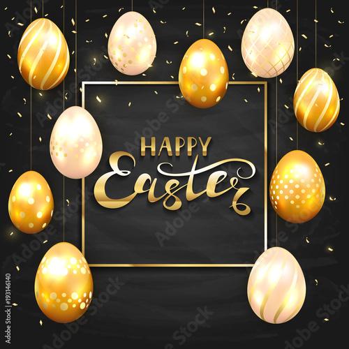 Set of golden Easter eggs on black chalkboard background - 193146140