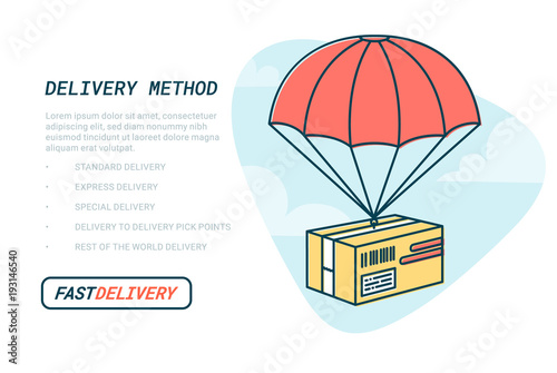 Delivery service concept  Flat outline design colored vector