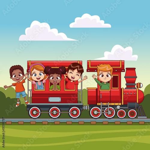 Fotobehang Pool kids on train over landscape vector illustration graphic design