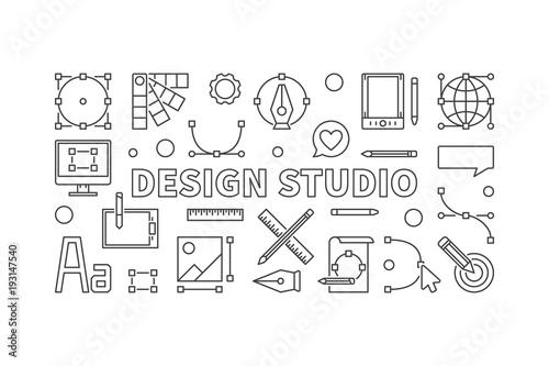 Design studio vector line illustration or banner
