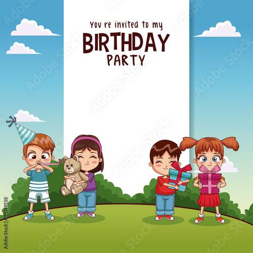 Fotobehang Blauw Happy birthday card with kids vector illustration graphic design