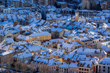 Aerial Winter view of snow covered rooftops in the city of Gap. Hautes-Alpes, Alps, France - 193150775