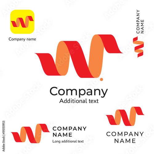 Curved Tape Abstract Logo Design Modern Clean Identity Brand Icon Symbol Concept Set Template