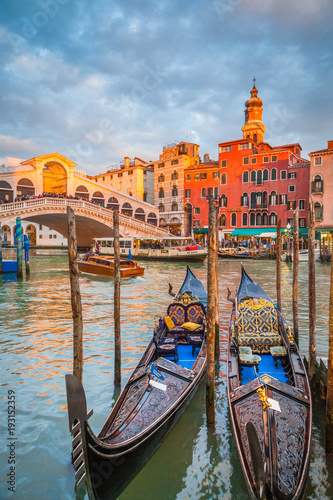 Canal Grande with Gondolas and Rialto Bridge at sunset, Venice, Italy - 193152359