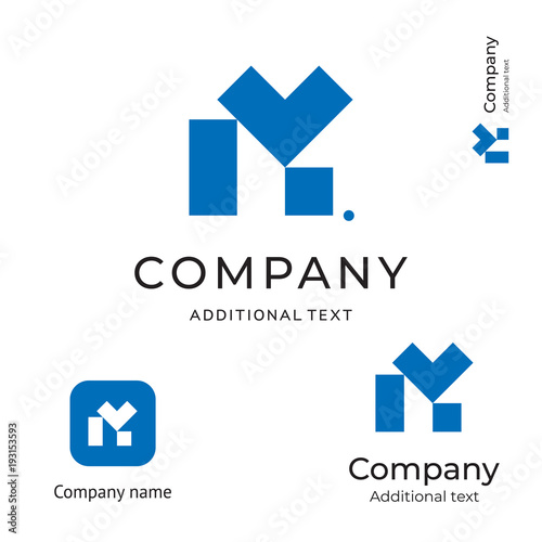 M Letter Technological Contstruction Logo Modern Business Identity Brand and App Icon Symbol Concept Set Template