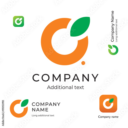 Orange with a Leaf Logo Simple and Clean Modern Identity Brand and App Icon Symbol Concept Set Template - 193153910
