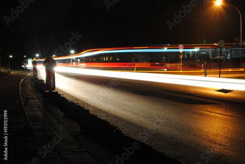 Deurstickers Nacht snelweg Hauptstraße bei Nacht
