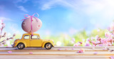 Deformed And Unrecognizable Car Carrying Easter Egg