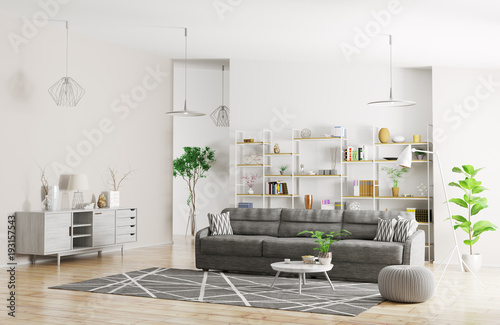 Papiers peints Echelle de hauteur Interior of modern apartment 3d rendering