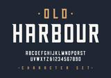 Vector condensed retro display font design, alphabet, character  - 193158188