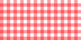 Vector gingham striped checkered blanket tablecloth. Seamless white red table cloth napkin pattern background with natural textile texture. Country fabric material for breakfast or dinner picnic - 193160922