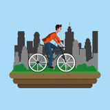 Man on bike with city vector illustration graphic design - 193161578