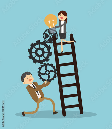Business teamwork climbing stairs vector illustration graphic design